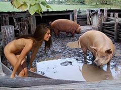 Teen virgin among pigs