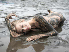 Gorgeous teen in mud