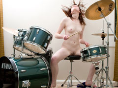 Naked drummer has a sex