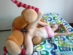 Teen fucks with Teddy bear