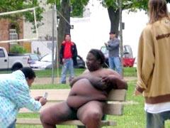 Public naked BBW