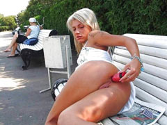 Anal pleasure in public place