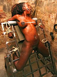 Cruel interrogation using torture machines in the dungeon