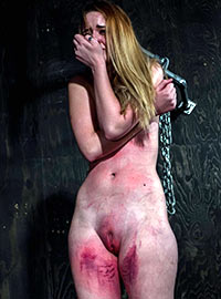 The girl could not stand the cruel torture till red marks for the first time