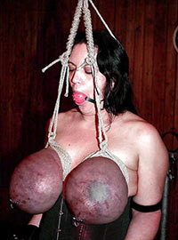 Masochist woman was suspended by her huge tits tied up till blue