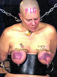 Humiliation and cruel punishment of real female noname slave pig