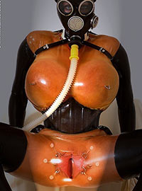 Bizarre fetish with latex and breath play then group fucking