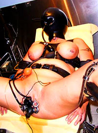 Deprived slave was shocked after very painful electro torture of genitals