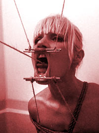 Extreme facial torture with insertion of long sharp objects into mouth