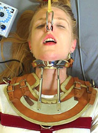 The patient in the mental hospital immobilized and tortured by electricity