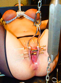 Master pierced the labia with hooks and tied the boobs with a rope then he tried to lift her body