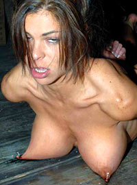 The girl fell into subspace as soon as her nipples were nailed to the board and could not recover for a long time