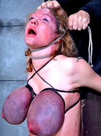 Master tied tight not only her boobs but also her throat making her breath difficult