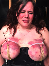 Hard binding of tits for a long time led to damage but the girl loved pain so much that she asked for more