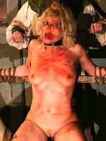 Blonde tortured on garrote
