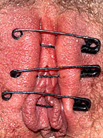 Pussy sewed with safety pins