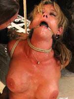 Threesome outdoor bondage session