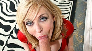 Blonde mature gets cock into her mouth