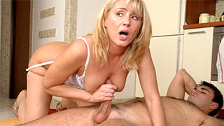 Mature woman jerking cock