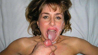 Cover the mature tongue and face with hot cum