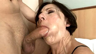 The prick deep into mature woman's hot mouth