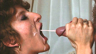 Cock cum into mature woman's mouth