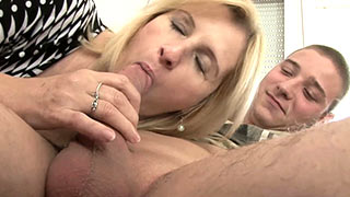 Mature woman sucked the cock into her willing mouth