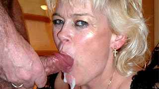 Cum on mature woman's face