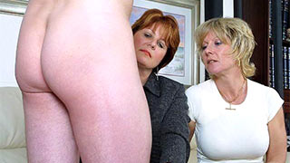 Two mature women starred at the guy's cock