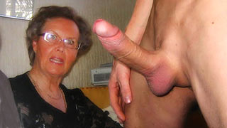 Mature woman shocked of the guy's hard cock