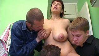 Three friends fucking mature woman
