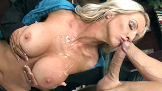 A huge spurt of come juice shot on to MILF's tits