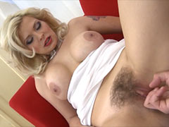 Very beautiful blonde hairy Milf fucked by lucky boy