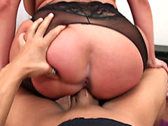 Horny housewife blows and rides a cock